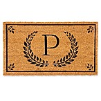 "Evergreen Laurel Leaves Flocked Monogram Letter ""P"" Door Mat Insert in Black"