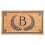 "Evergreen Laurel Leaves Flocked Monogram Letter ""B"" Door Mat Insert in Black"