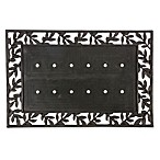 "Evergreen Laurel Leaves 24"" x 36"" Doormat Base in Black"