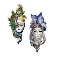 design TOSCANO® Peacock & Butterfly Sculptural Wall Masks (Set of 2)
