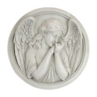 design TOSCANO® Thoughts of an Angel Sculpture Wall Roundel in Aged Stone