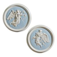 design TOSCANO® Morning and Night Angel Wall Plaque in Antique Stone/Powder Blue (Set of 2)