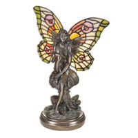 design TOSCANO® Tiffany-Style Fairy Stain Glass Lighted Sculpture in Bronze