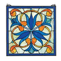 design TOSCANO® Mokara Orchid Trefoil Floral Stained Glass Window