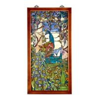 design TOSCANO® Tiffany-Style Peacock/Wisteria Stained Glass Window