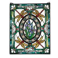 design TOSCANO® Dragonfly Floral Stained Glass Window