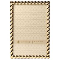 Lawrence Frames 4-Inch x 6-Inch Metal Rope Picture Frame in Gold