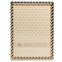 Lawrence Frames 5-Inch x 7-Inch Metal Rope Picture Frame in Gold