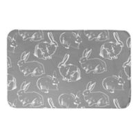 Designs Direct Bunny Sketch 34-Inch x 21-Inch Bath Rug in Grey