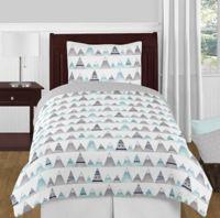 Sweet Jojo Designs Mountains Twin 4-Piece Comforter Set in Grey/Aqua