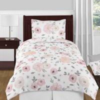 Sweet Jojo Designs Watercolor Floral 4-Piece Twin Comforter Set in Pink/Grey