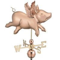 Good Directions Flying Pig Weathervane in Polished Copper Finish