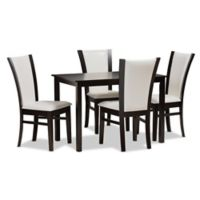 Baxton Studio Adley 5-Piece Faux Leather Upholstered Dining Set in Dark Brown/White