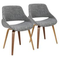 Lumisource™ Upholstered Dining Chairs in Walnut/gray (Set of 2)