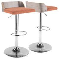Lumisource™ Upholstered Stool in Grey/orange