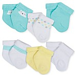 Gerber® Size 0-3M 6-Pack Clouds Terry Bootie Socks in Aqua/Yellow