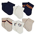 Gerber® Size 3-6M 6-Pack Tiger Terry Bootie Socks in Oatmeal/Blue
