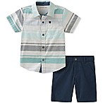 Calvin Klein Size 3-6M 2-Piece Woven Shirt and Short Set in White/Blue