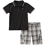 Calvin Klein Size 12M 2-Piece Polo Shirt and Plaid Short Set in Black