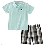 Calvin Klein Size 3-6M 2-Piece Polo Shirt and Plaid Short Set in Mint