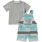 Calvin Klein Size 3-6M 2-Piece Shirt and Striped Shortall Set in Teal/Grey