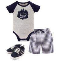 Yoga Sprout Size 12-18M 3-Piece Explorer Bodysuit, Short, and Shoe Set in Blue