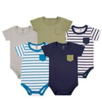Hudson Baby® Size 12-18M 5-Pack Hanging Bodysuits with Pocket in Blue/Green