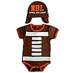 Sozo® Size 0-3M 2-Piece Football Bodysuit and Cap Set in Brown
