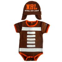 Sozo® Size 12M 2-Piece Football Bodysuit and Cap Set in Brown