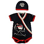 Sozo® Size 3-6M 2-Piece Ninja Bodysuit and Cap Set in Black/Red