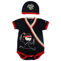 Sozo® Size 0-3M 2-Piece Ninja Bodysuit and Cap Set in Black/Red
