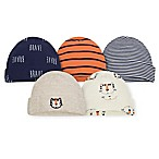 Gerber® 5-Pack Tiger Caps in Oatmeal/Blue