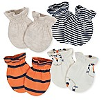 Gerber® Size 0-3M 4-Pack Tiger Mittens in Beige/Orange