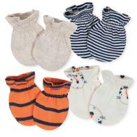 Gerber® Size 0-3M 4-Pack Tiger Mittens in Beige/Orange