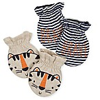 Gerber® 2-Pack Tiger Mittens in Oatmeal/Blue