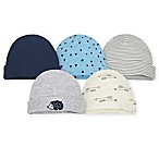 Gerber® 5-Pack Hedgehog Caps in Blue/Grey