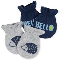 Gerber® Size 0-3M 2-Pack Hedgehog Mittens in Blue