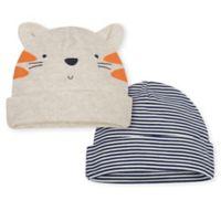 Gerber® 2-Pack Tiger Caps in Beige/Orange