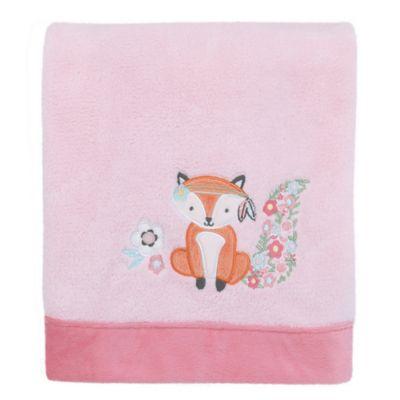 NoJoR Aztec Mix Match Coral Fleece Fox Blanket In Pink