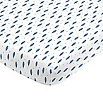 NoJo® Aztec Mix And Match Feather Print Fitted Crib Sheet in Navy