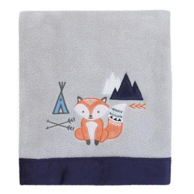 NoJoR Aztec Mix Match Coral Fleece Fox Blanket In Grey
