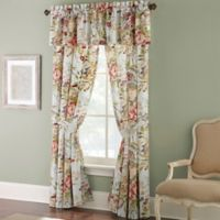 Rose Tree Lorraine 84-Inch Rod Pocket Window Curtain Panel Pair in Pale Blue/Red