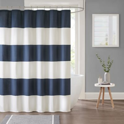 navy blue and white striped shower curtain. Parker Stripe Shower Curtain in Navy Buy Blue Striped from Bed Bath  Beyond