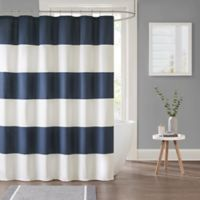 Parker Stripe Shower Curtain in Navy