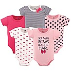 Hudson Baby® Size 0-3M 5-Pack So Many Bows Short Sleeve Bodysuits