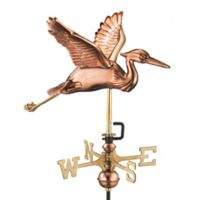 Good Directions Blue Heron Garden Weathervane with Pole in Polished Copper