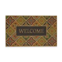 """Mohawk Home® 18"""" x 30"""" Tile Garden Welcome Door Mat in Blue"""