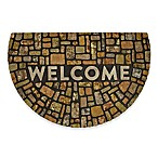"Mohawk Home 23"" x 35"" Modern Rock Welcome Half-Round Door Mat in Brown"