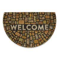 """Mohawk Home 23"""" x 35"""" Modern Rock Welcome Half-Round Door Mat in Brown"""
