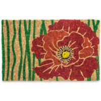 "Entryways Red Bloom 18"" x 30"" Coir Multicolor Door Mat"